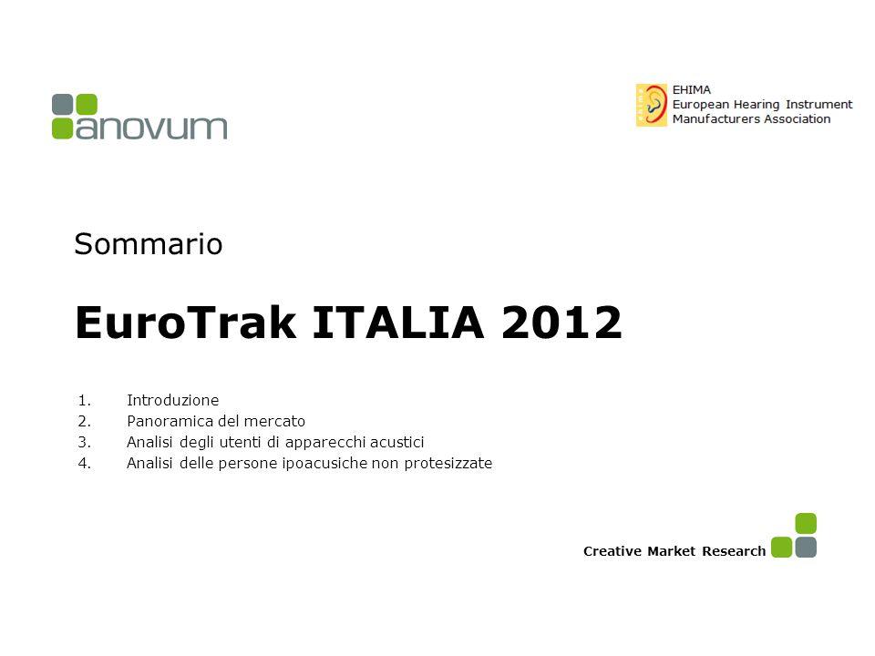 Sommario EuroTrak ITALIA 2012 1.Introduzione 2.Panoramica del mercato 3.Analisi degli utenti di apparecchi acustici 4.Analisi delle persone ipoacusich