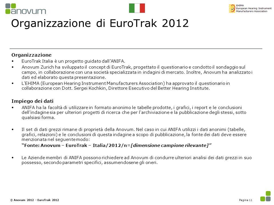 Organizzazione di EuroTrak 2012 Organizzazione EuroTrak Italia è un progetto guidato dall'ANIFA. Anovum Zurich ha sviluppato il concept di EuroTrak, p