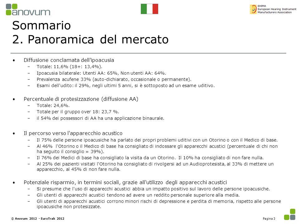Sommario 2. Panoramica del mercato Diffusione conclamata dell'ipoacusia –Totale: 11,6% (18+: 13,4%). –Ipoacusia bilaterale: Utenti AA: 65%, Non utenti