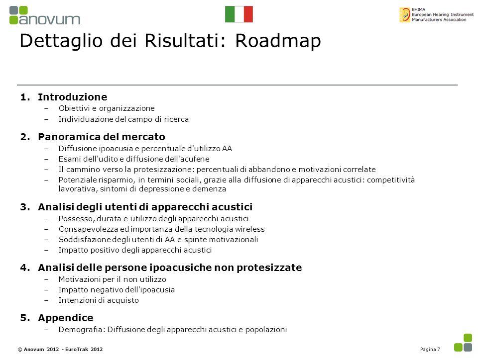 Dettaglio dei Risultati: Roadmap 1.Introduzione –Obiettivi e organizzazione –Individuazione del campo di ricerca 2.Panoramica del mercato –Diffusione