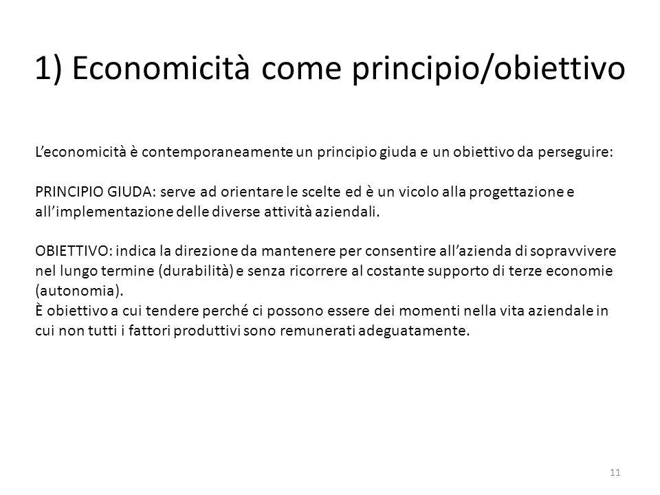 1) Economicità come principio/obiettivo 11 L'economicità è contemporaneamente un principio giuda e un obiettivo da perseguire: PRINCIPIO GIUDA: serve ad orientare le scelte ed è un vicolo alla progettazione e all'implementazione delle diverse attività aziendali.