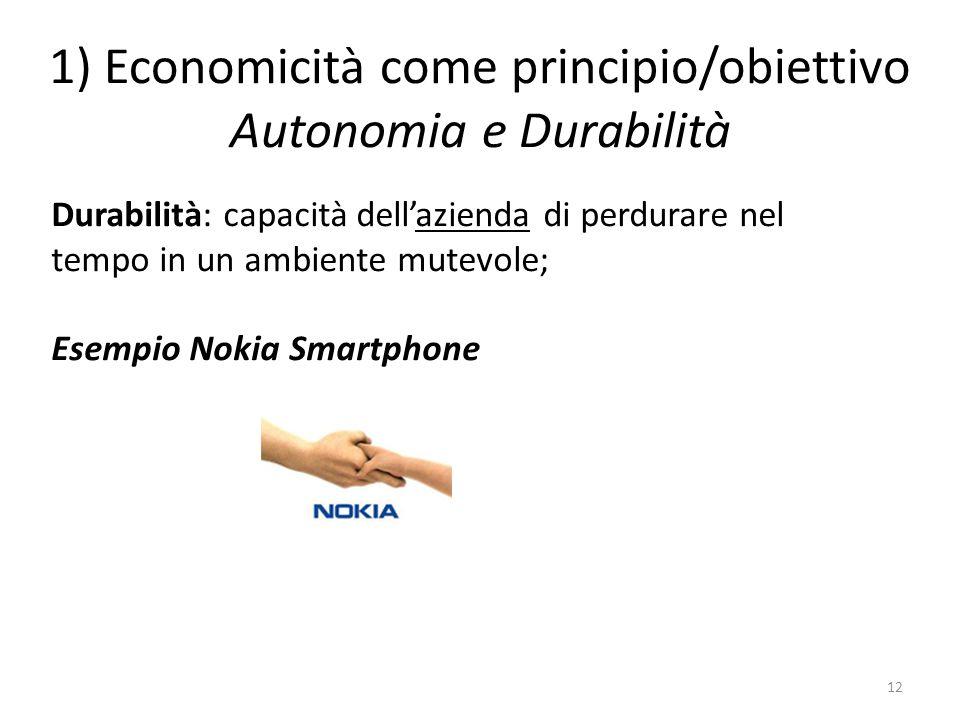 1) Economicità come principio/obiettivo Autonomia e Durabilità 12 Durabilità: capacità dell'azienda di perdurare nel tempo in un ambiente mutevole; Es