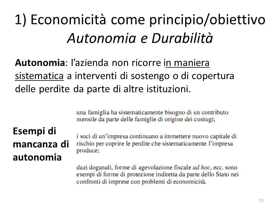 1) Economicità come principio/obiettivo Autonomia e Durabilità 13 Autonomia: l'azienda non ricorre in maniera sistematica a interventi di sostengo o di copertura delle perdite da parte di altre istituzioni.