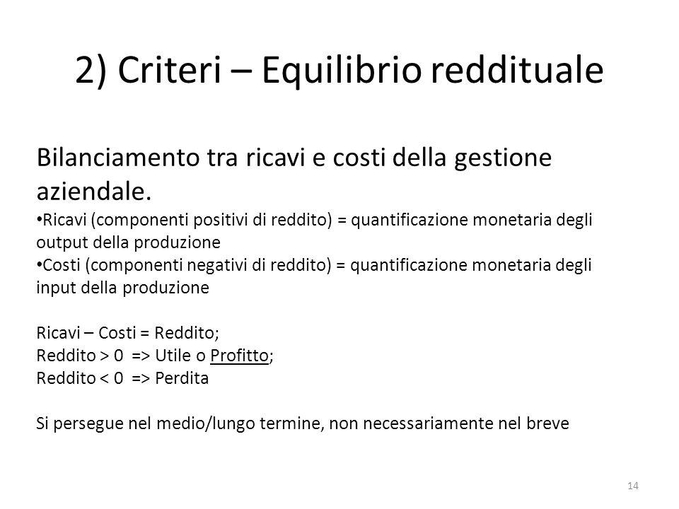 2) Criteri – Equilibrio reddituale 14 Bilanciamento tra ricavi e costi della gestione aziendale. Ricavi (componenti positivi di reddito) = quantificaz