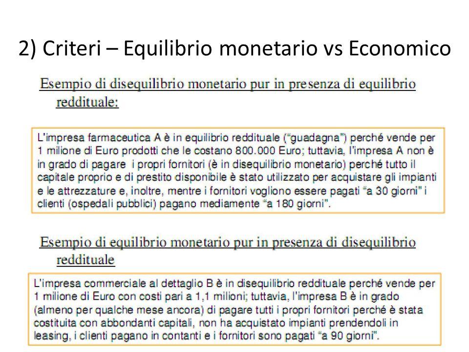 2) Criteri – Equilibrio monetario vs Economico 16