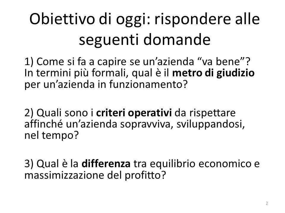 """Obiettivo di oggi: rispondere alle seguenti domande 1) Come si fa a capire se un'azienda """"va bene""""? In termini più formali, qual è il metro di giudizi"""
