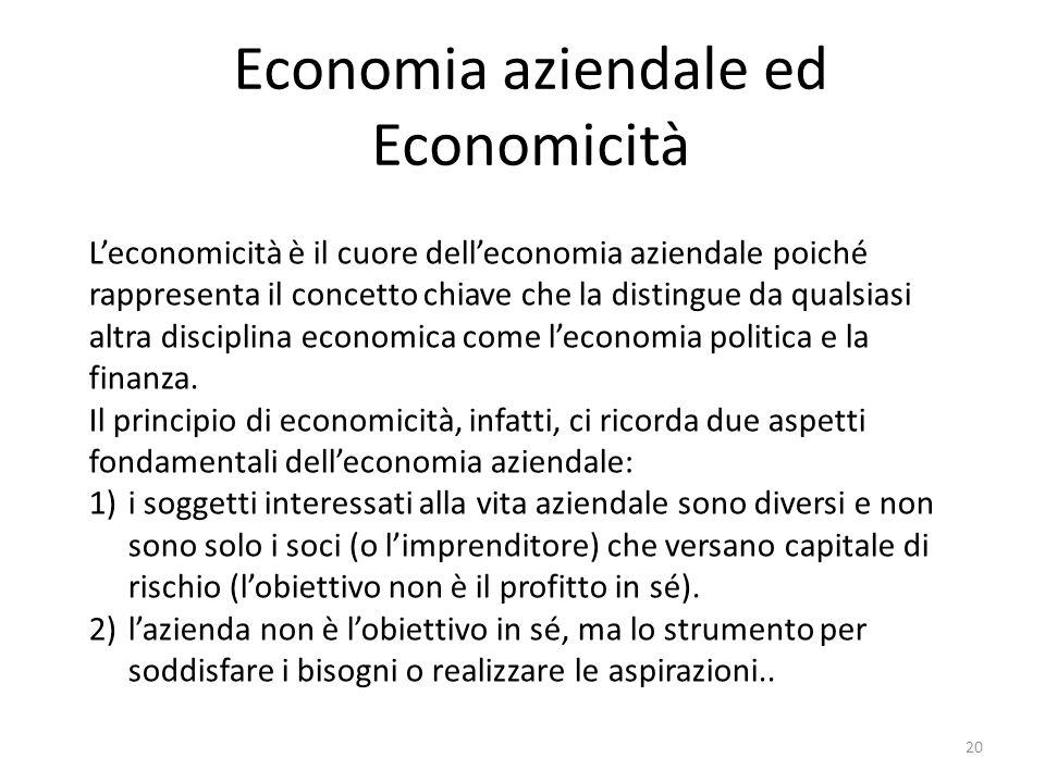 Economia aziendale ed Economicità 20 L'economicità è il cuore dell'economia aziendale poiché rappresenta il concetto chiave che la distingue da qualsi