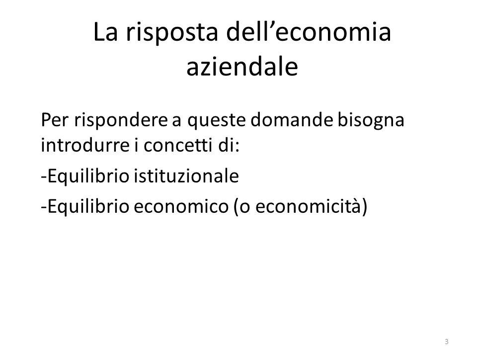 La risposta dell'economia aziendale Per rispondere a queste domande bisogna introdurre i concetti di: -Equilibrio istituzionale -Equilibrio economico