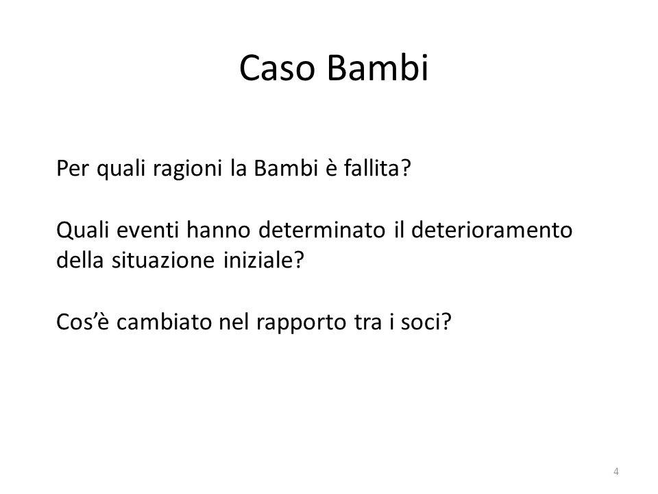 Caso Bambi Per quali ragioni la Bambi è fallita? Quali eventi hanno determinato il deterioramento della situazione iniziale? Cos'è cambiato nel rappor