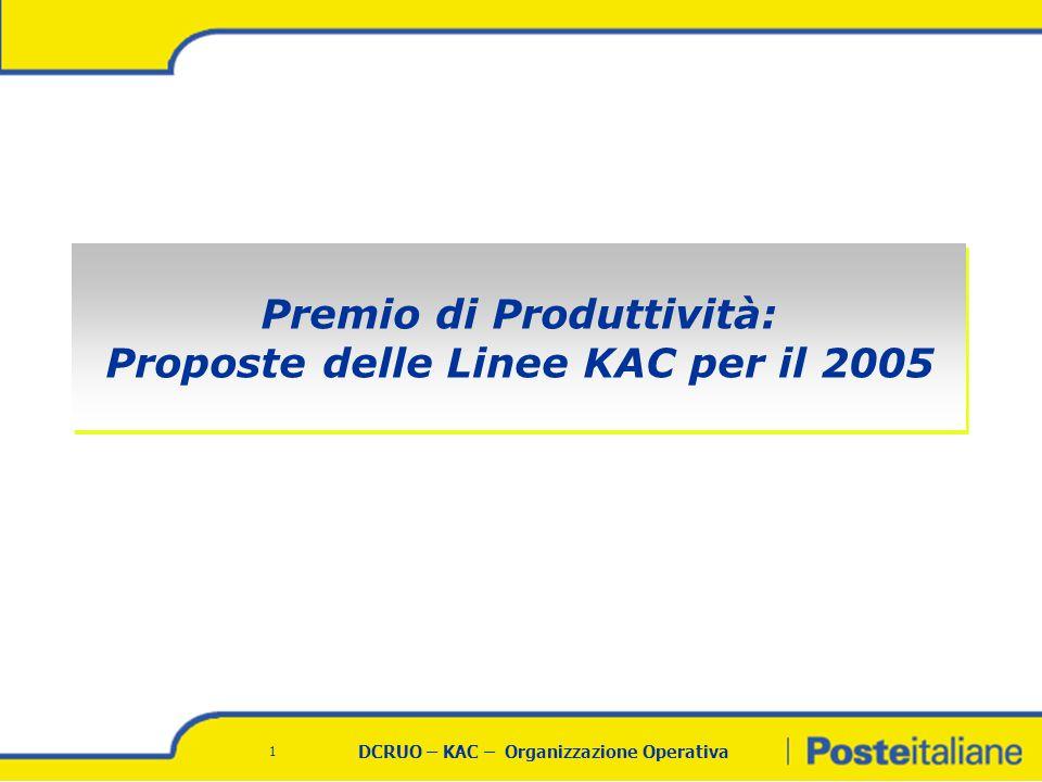 DCRUO – KAC – Organizzazione Operativa 1 Premio di Produttività: Proposte delle Linee KAC per il 2005 Premio di Produttività: Proposte delle Linee KAC per il 2005