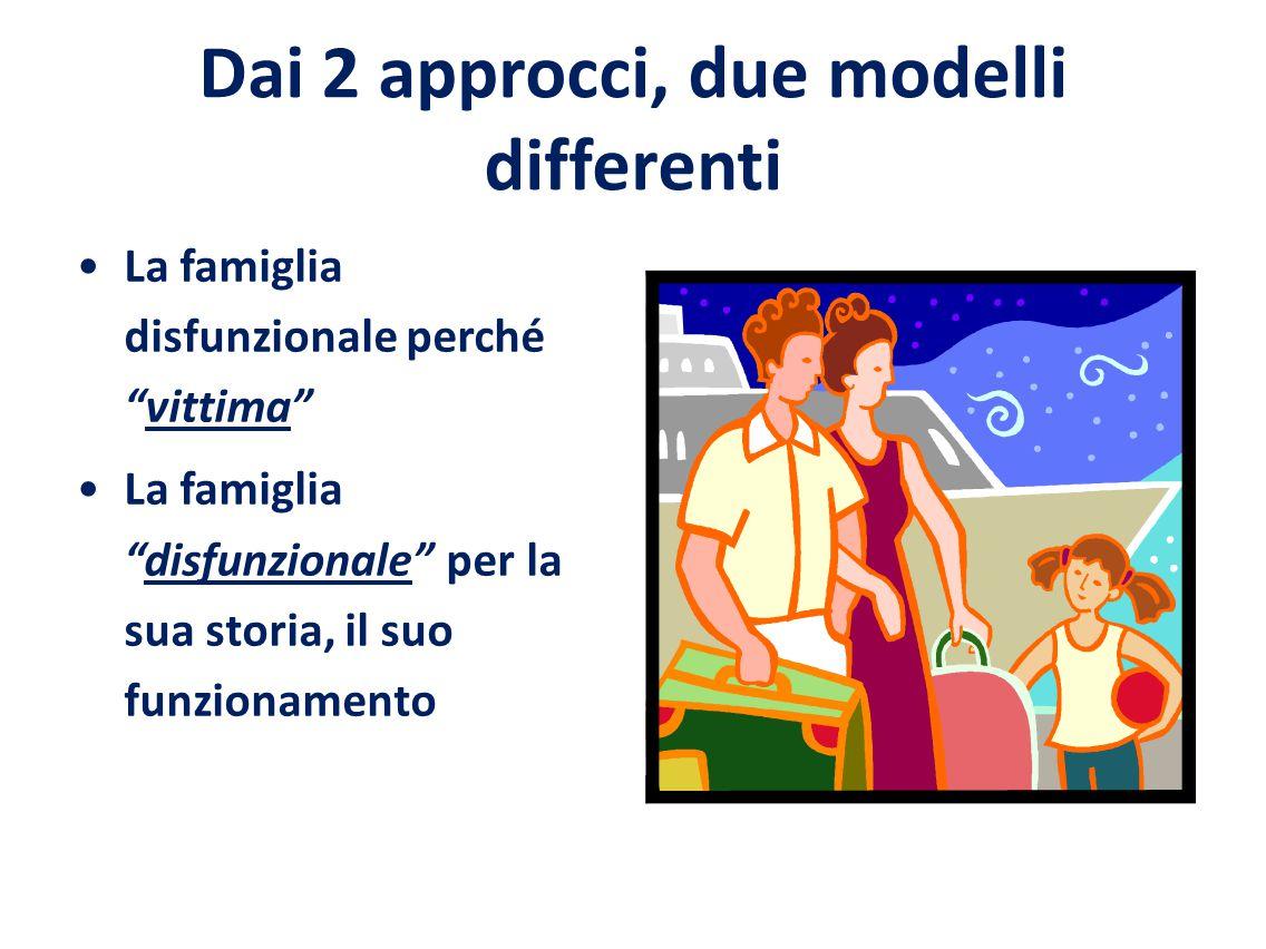 Dai 2 approcci, due modelli differenti La famiglia disfunzionale perché vittima La famiglia disfunzionale per la sua storia, il suo funzionamento