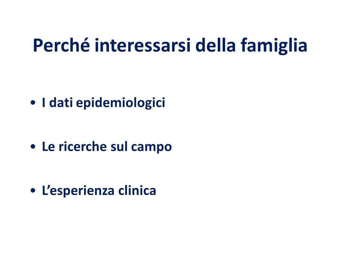 Perché interessarsi della famiglia I dati epidemiologici Le ricerche sul campo L'esperienza clinica