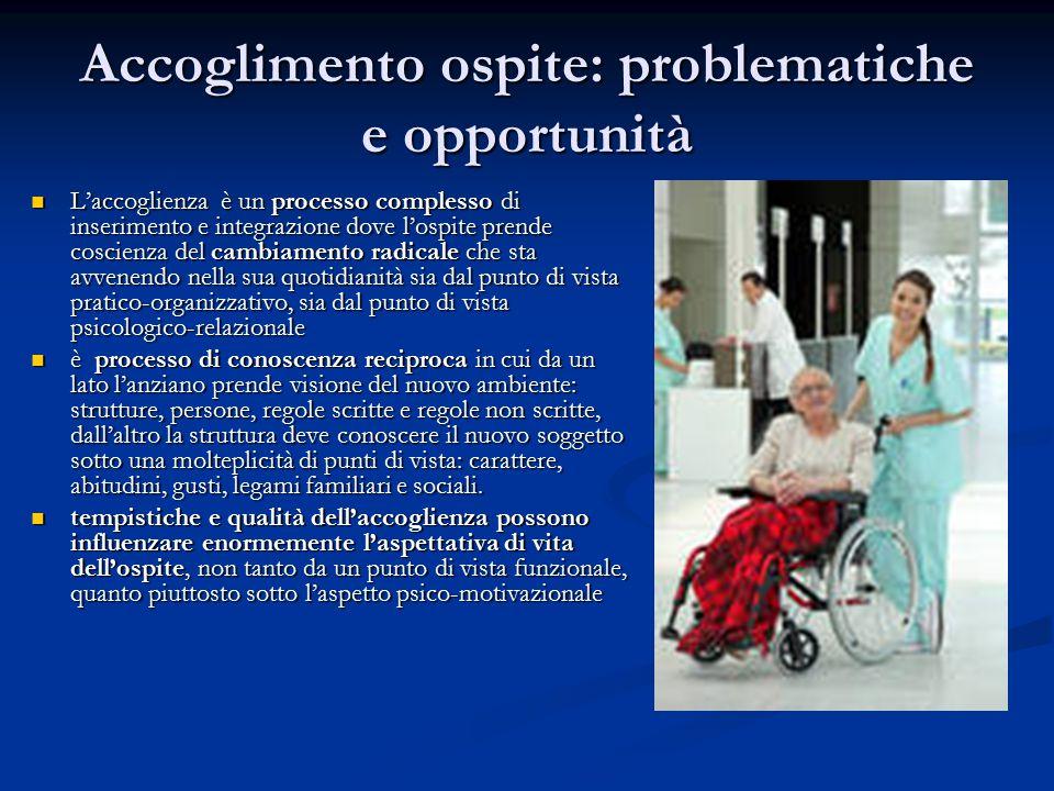 Accoglimento ospite: problematiche e opportunità L'accoglienza è un processo complesso di inserimento e integrazione dove l'ospite prende coscienza de