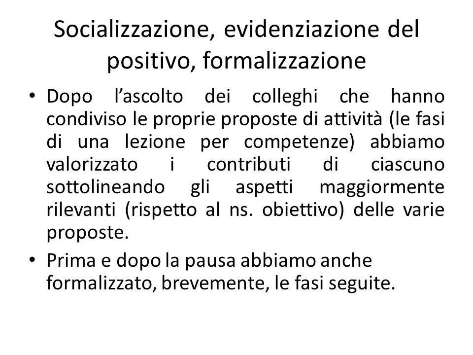 Socializzazione, evidenziazione del positivo, formalizzazione Dopo l'ascolto dei colleghi che hanno condiviso le proprie proposte di attività (le fasi