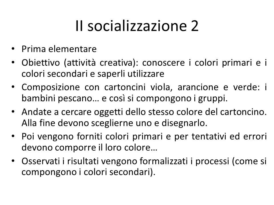 II socializzazione 2 Prima elementare Obiettivo (attività creativa): conoscere i colori primari e i colori secondari e saperli utilizzare Composizione