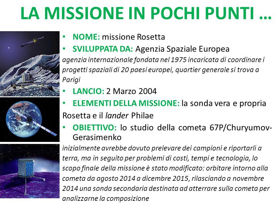 NOME: missione Rosetta SVILUPPATA DA: Agenzia Spaziale Europea agenzia internazionale fondata nel 1975 incaricata di coordinare i progetti spaziali di 20 paesi europei, quartier generale si trova a Parigi LANCIO: 2 Marzo 2004 ELEMENTI DELLA MISSIONE: la sonda vera e propria Rosetta e il lander Philae OBIETTIVO: lo studio della cometa 67P/Churyumov- Gerasimenko inizialmente avrebbe dovuto prelevare dei campioni e riportarli a terra, ma in seguito per problemi di costi, tempi e tecnologia, lo scopo finale della missione è stato modificato: orbitare intorno alla cometa da agosto 2014 a dicembre 2015, rilasciando a novembre 2014 una sonda secondaria destinata ad atterrare sulla cometa per analizzarne la composizione LA MISSIONE IN POCHI PUNTI …