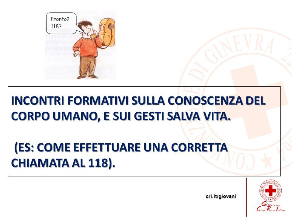 cri.it/giovani INCONTRI FORMATIVI SULLA CONOSCENZA DEL CORPO UMANO, E SUI GESTI SALVA VITA.
