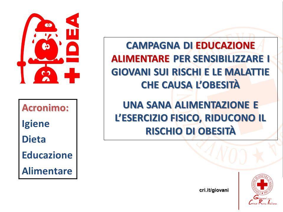 cri.it/giovani CAMPAGNA DI EDUCAZIONE ALIMENTARE PER SENSIBILIZZARE I GIOVANI SUI RISCHI E LE MALATTIE CHE CAUSA L'OBESITÀ UNA SANA ALIMENTAZIONE E L'ESERCIZIO FISICO, RIDUCONO IL RISCHIO DI OBESITÀ Acronimo: Igiene Dieta Educazione Alimentare
