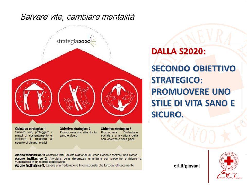 cri.it/giovani DALLA S2020: SECONDO OBIETTIVO STRATEGICO: PROMUOVERE UNO STILE DI VITA SANO E SICURO.