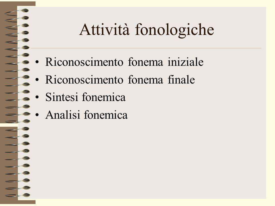 Attività fonologiche Riconoscimento fonema iniziale Riconoscimento fonema finale Sintesi fonemica Analisi fonemica