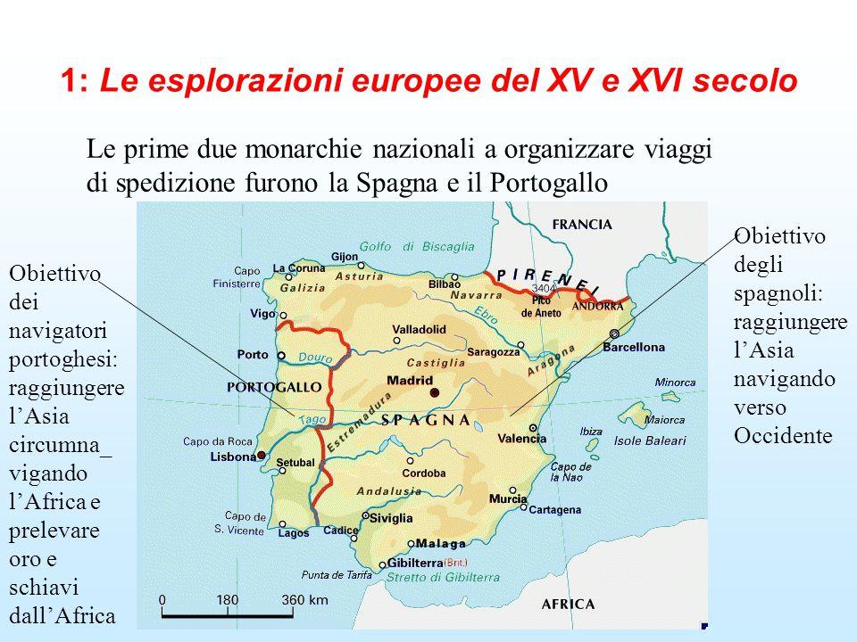 1: Le esplorazioni europee del XV e XVI secolo Le prime due monarchie nazionali a organizzare viaggi di spedizione furono la Spagna e il Portogallo Ob