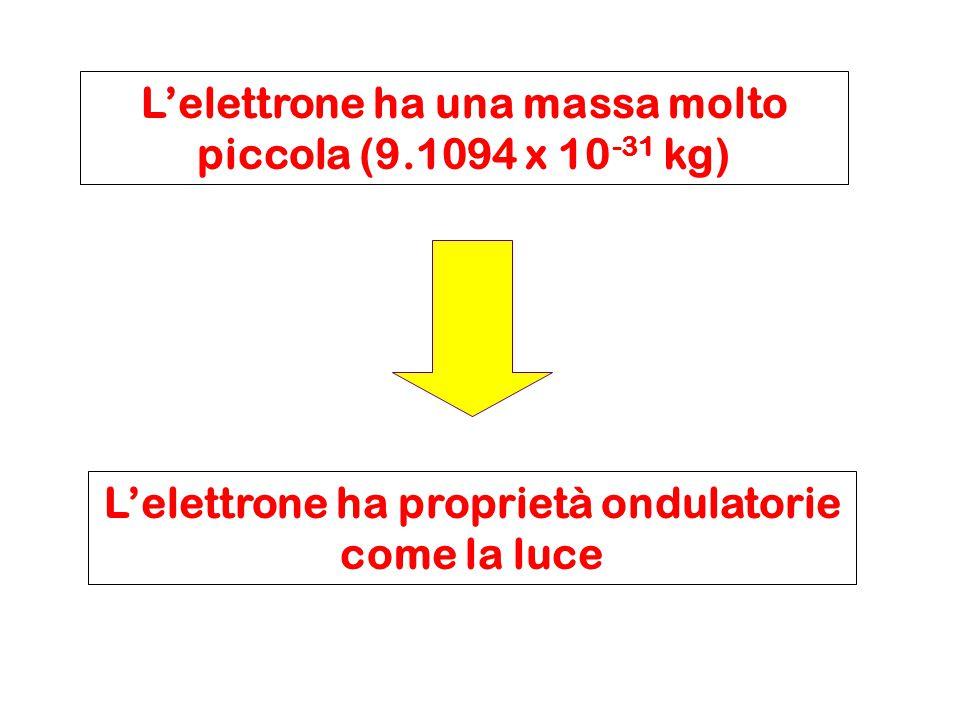 L'elettrone ha una massa molto piccola (9.1094 x 10 -31 kg) L'elettrone ha proprietà ondulatorie come la luce