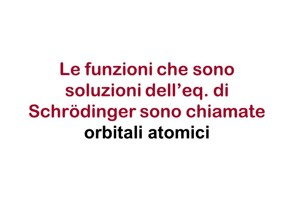 Dalla equazione di Schroedinger agli orbitali atomici Questi orbitali non permettono di localizzare la posizione dell'elettrone (non rappresentano quindi una traiettoria dell'elettrone nello spazio) ma consentono di valutare la probabilità di trovare l'elettrone in un piccolo volume d .