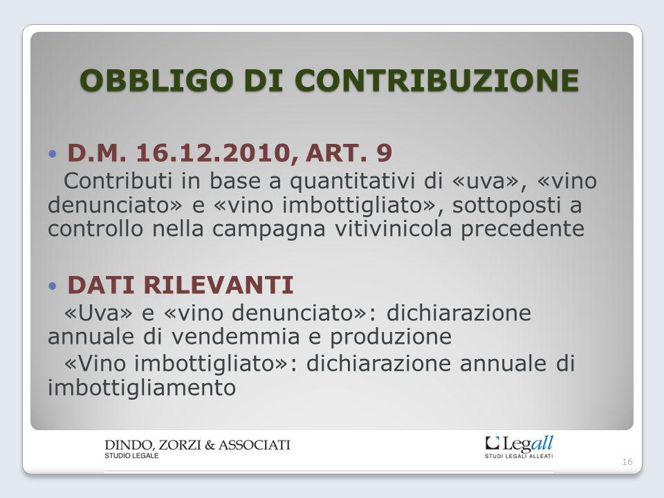 OBBLIGO DI CONTRIBUZIONE D.M. 16.12.2010, ART. 9 Contributi in base a quantitativi di «uva», «vino denunciato» e «vino imbottigliato», sottoposti a co