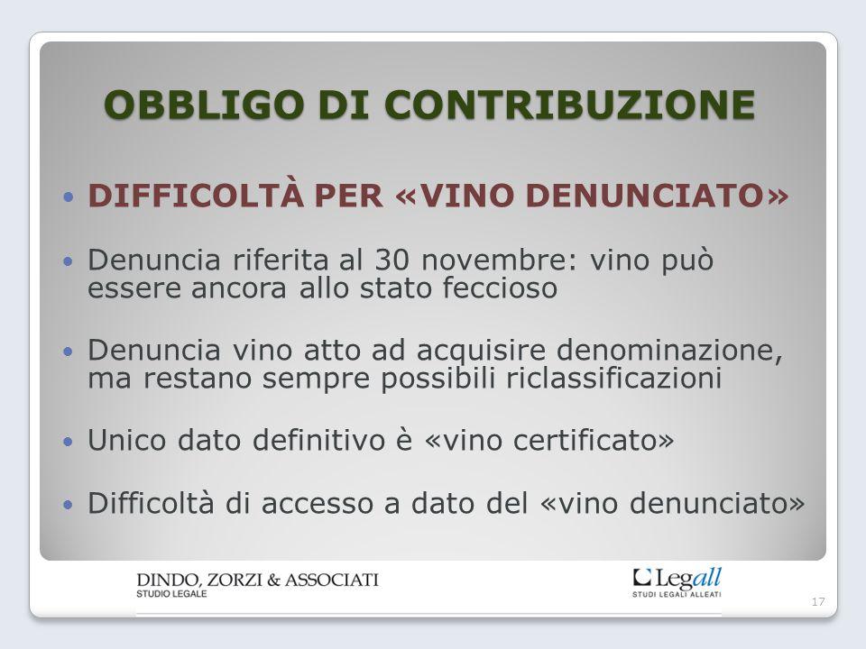 OBBLIGO DI CONTRIBUZIONE DIFFICOLTÀ PER «VINO DENUNCIATO» Denuncia riferita al 30 novembre: vino può essere ancora allo stato feccioso Denuncia vino a