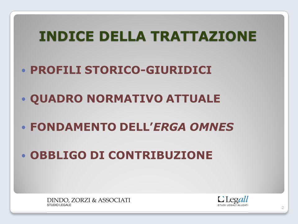 INDICE DELLA TRATTAZIONE PROFILI STORICO-GIURIDICI QUADRO NORMATIVO ATTUALE FONDAMENTO DELL'ERGA OMNES OBBLIGO DI CONTRIBUZIONE 2