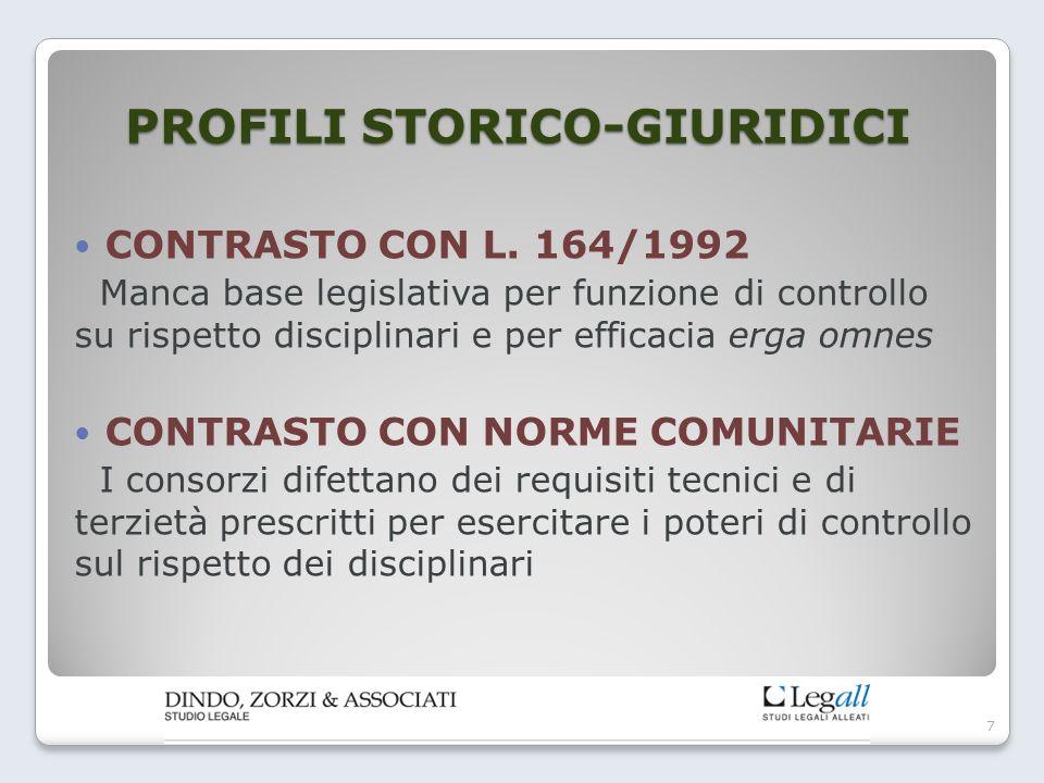 PROFILI STORICO-GIURIDICI CONTRASTO CON L. 164/1992 Manca base legislativa per funzione di controllo su rispetto disciplinari e per efficacia erga omn