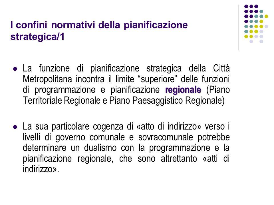 I confini normativi della pianificazione strategica/1 regionale La funzione di pianificazione strategica della Città Metropolitana incontra il limite