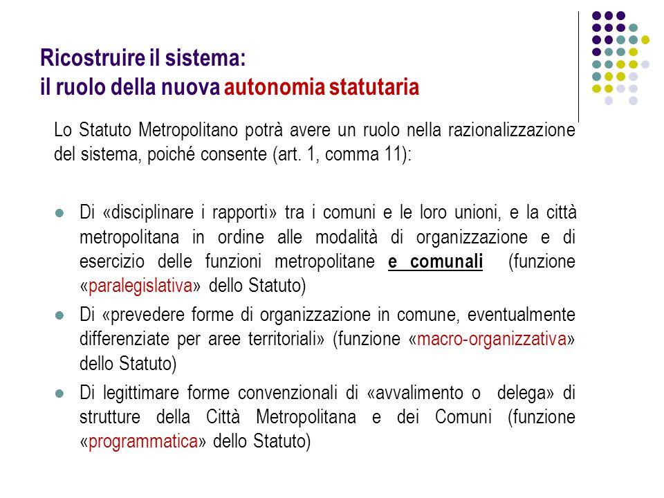 Ricostruire il sistema: il ruolo della nuova autonomia statutaria Lo Statuto Metropolitano potrà avere un ruolo nella razionalizzazione del sistema, p
