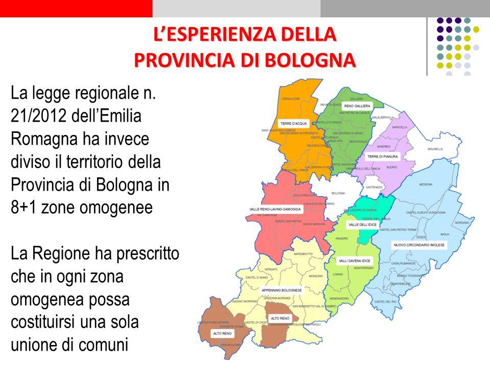 L'ESPERIENZA DELLA PROVINCIA DI BOLOGNA La legge regionale n. 21/2012 dell'Emilia Romagna ha invece diviso il territorio della Provincia di Bologna in