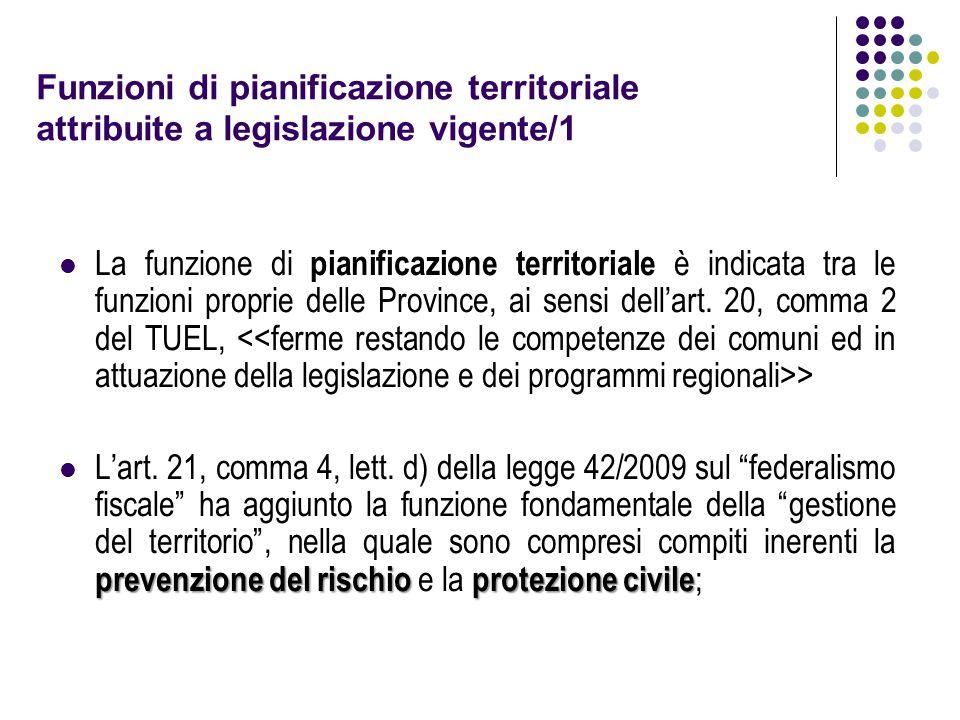 Funzioni di pianificazione territoriale attribuite a legislazione vigente/1 La funzione di pianificazione territoriale è indicata tra le funzioni proprie delle Province, ai sensi dell'art.