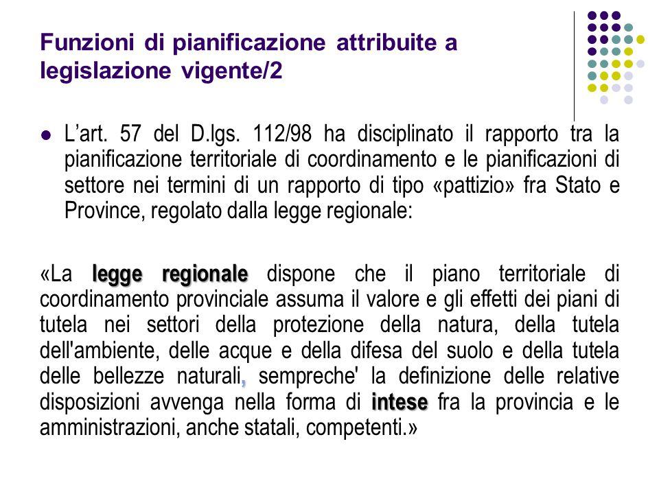 Funzioni di pianificazione attribuite a legislazione vigente/2 L'art. 57 del D.lgs. 112/98 ha disciplinato il rapporto tra la pianificazione territori