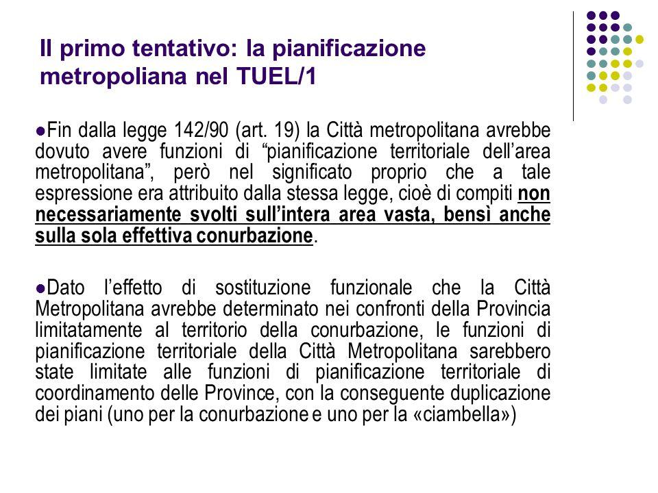 """Fin dalla legge 142/90 (art. 19) la Città metropolitana avrebbe dovuto avere funzioni di """"pianificazione territoriale dell'area metropolitana"""", però n"""