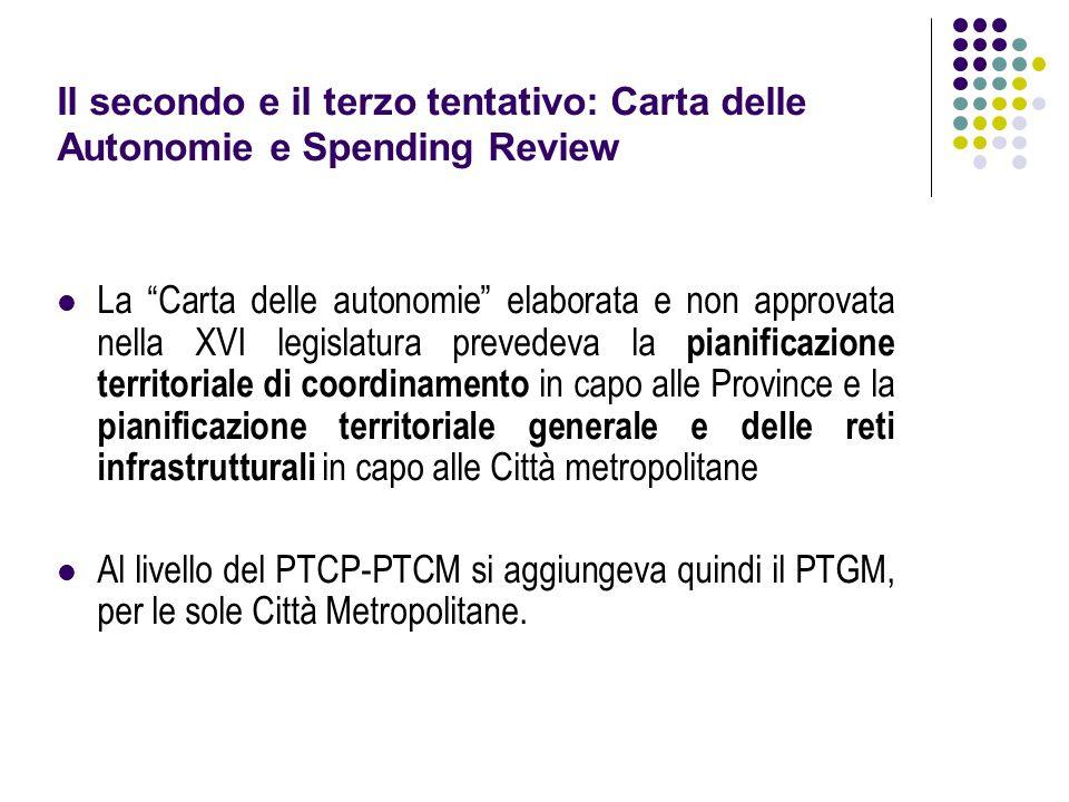 """Il secondo e il terzo tentativo: Carta delle Autonomie e Spending Review La """"Carta delle autonomie"""" elaborata e non approvata nella XVI legislatura pr"""