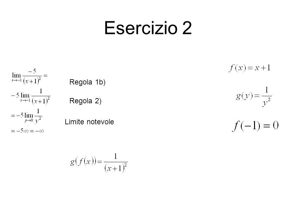 Esercizio 2 Regola 1b) Regola 2) Limite notevole