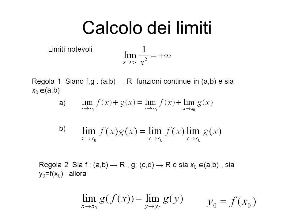Calcolo dei limiti Limiti notevoli Regola 1 Siano f,g : (a.b)  R funzioni continue in (a,b) e sia x 0  (a,b) Regola 2 Sia f : (a,b)  R, g: (c,d)  R e sia x 0  (a,b), sia y 0 =f(x 0 ) allora a) b)