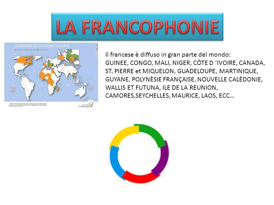 Il francese è diffuso in gran parte del mondo: GUINEE, CONGO, MALI, NIGER, CÔTE D 'IVOIRE, CANADA, ST.