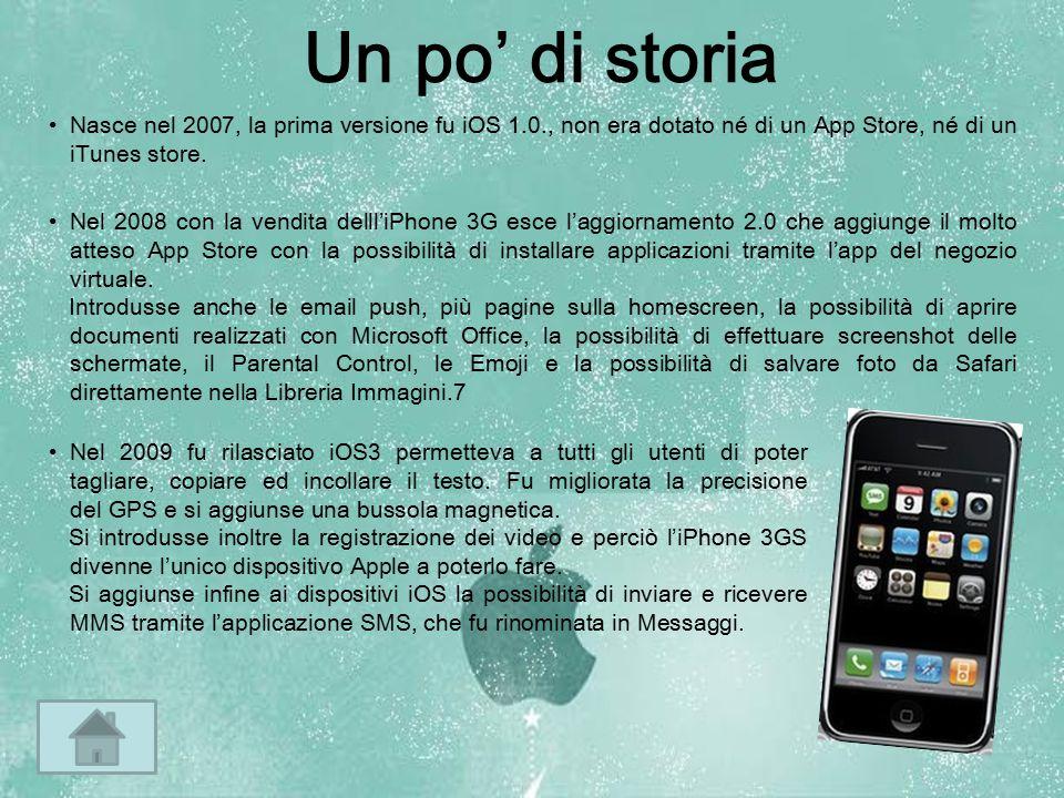 Un po' di storia Nasce nel 2007, la prima versione fu iOS 1.0., non era dotato né di un App Store, né di un iTunes store. Nel 2008 con la vendita dell