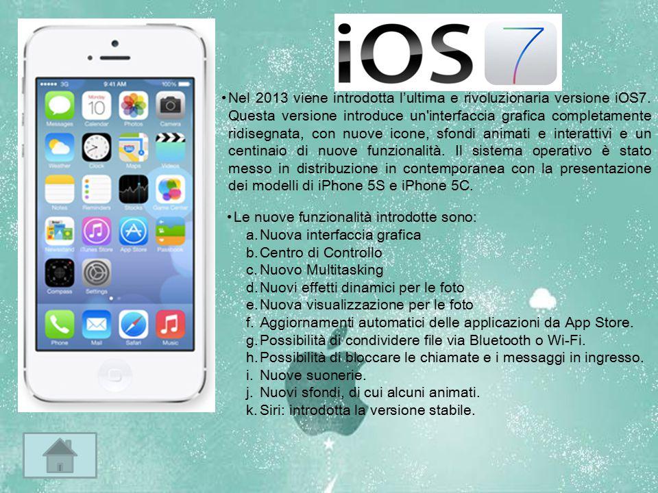 Nel 2013 viene introdotta l'ultima e rivoluzionaria versione iOS7. Questa versione introduce un'interfaccia grafica completamente ridisegnata, con nuo