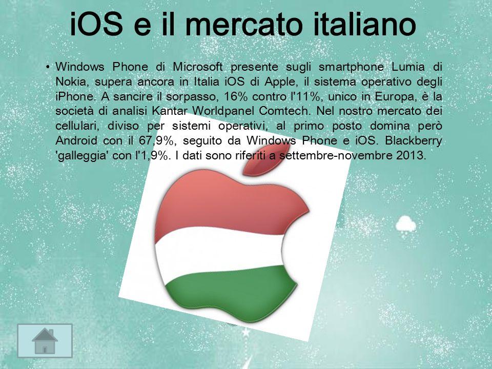 iOS e il mercato italiano Windows Phone di Microsoft presente sugli smartphone Lumia di Nokia, supera ancora in Italia iOS di Apple, il sistema operat