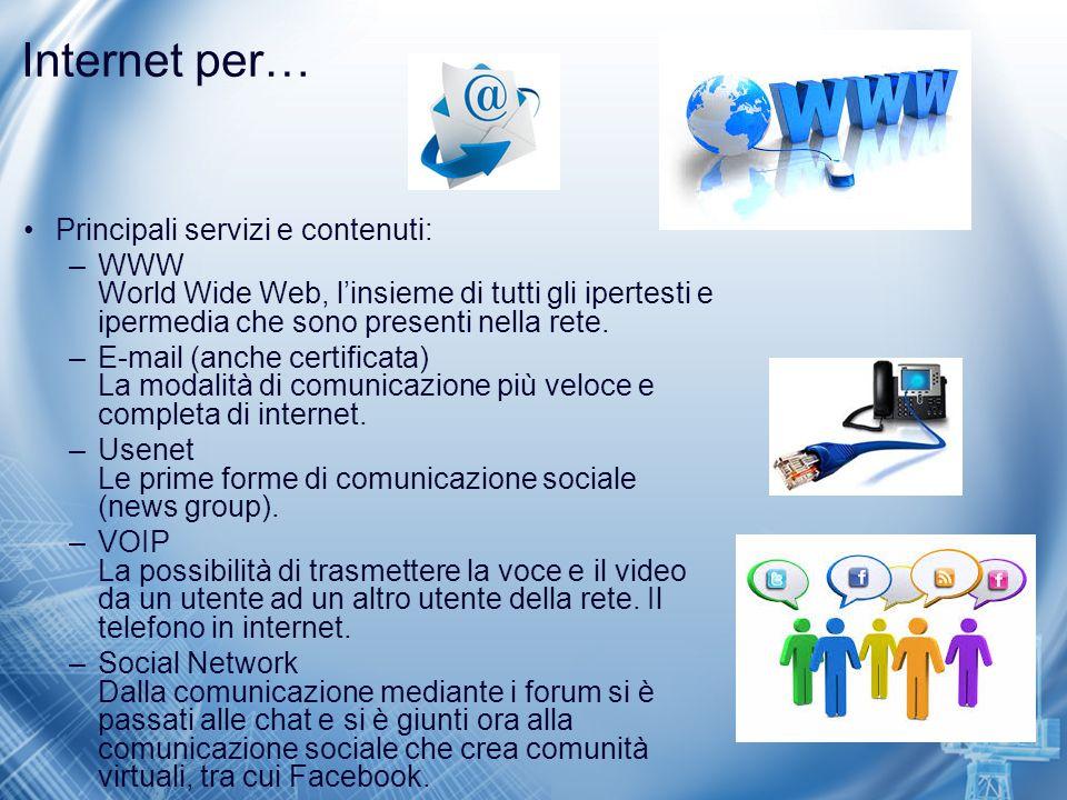 Internet per… Principali servizi e contenuti: –WWW World Wide Web, l'insieme di tutti gli ipertesti e ipermedia che sono presenti nella rete. –E-mail