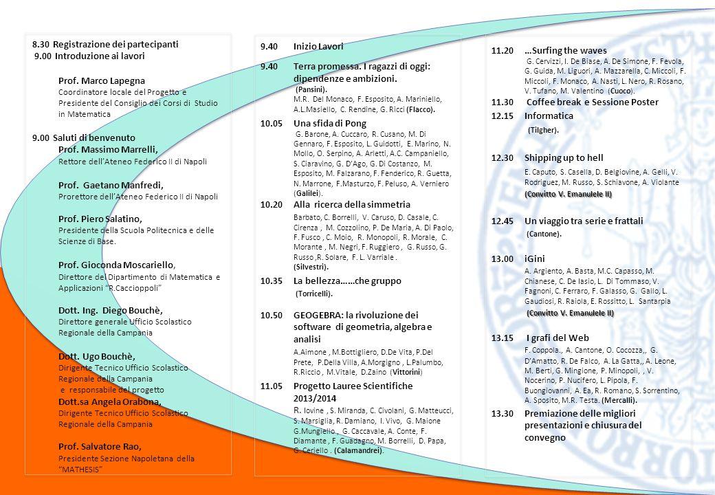 8.30 Registrazione dei partecipanti 9.00 Introduzione ai lavori Prof.