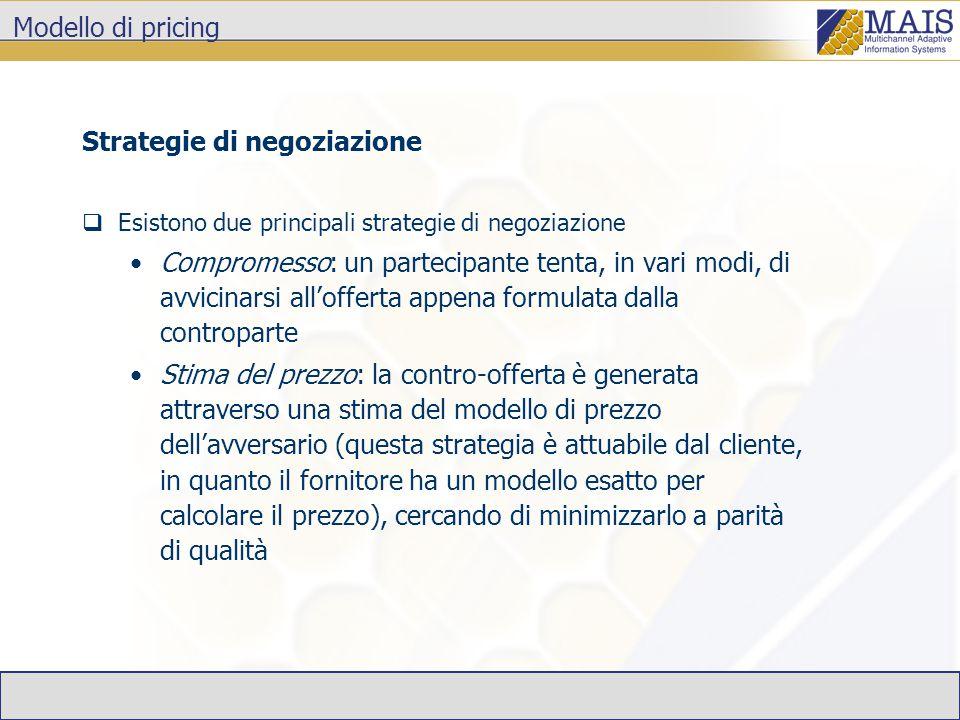 Modello di pricing Strategie di negoziazione  Esistono due principali strategie di negoziazione Compromesso: un partecipante tenta, in vari modi, di avvicinarsi all'offerta appena formulata dalla controparte Stima del prezzo: la contro-offerta è generata attraverso una stima del modello di prezzo dell'avversario (questa strategia è attuabile dal cliente, in quanto il fornitore ha un modello esatto per calcolare il prezzo), cercando di minimizzarlo a parità di qualità
