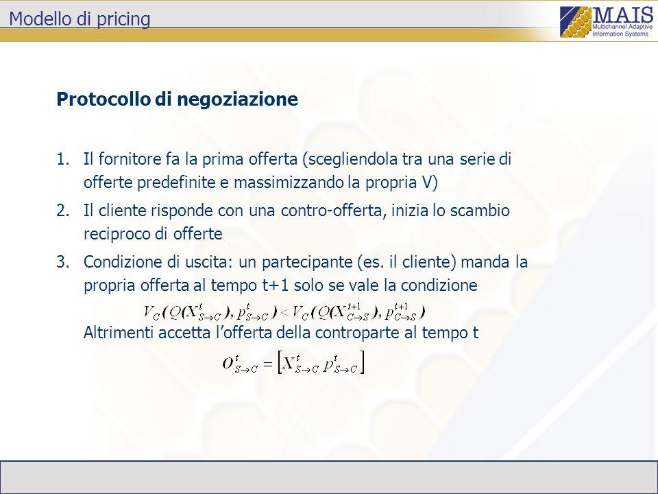 Modello di pricing Protocollo di negoziazione 1.Il fornitore fa la prima offerta (scegliendola tra una serie di offerte predefinite e massimizzando la