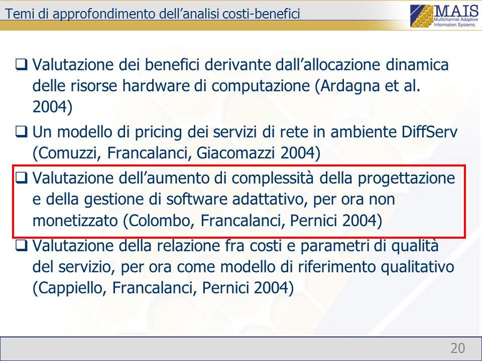 20 Temi di approfondimento dell'analisi costi-benefici  Valutazione dei benefici derivante dall'allocazione dinamica delle risorse hardware di comput