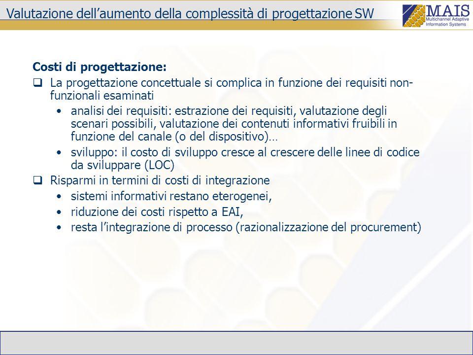 Costi di progettazione:  La progettazione concettuale si complica in funzione dei requisiti non- funzionali esaminati analisi dei requisiti: estrazione dei requisiti, valutazione degli scenari possibili, valutazione dei contenuti informativi fruibili in funzione del canale (o del dispositivo)… sviluppo: il costo di sviluppo cresce al crescere delle linee di codice da sviluppare (LOC)  Risparmi in termini di costi di integrazione sistemi informativi restano eterogenei, riduzione dei costi rispetto a EAI, resta l'integrazione di processo (razionalizzazione del procurement) Valutazione dell'aumento della complessità di progettazione SW